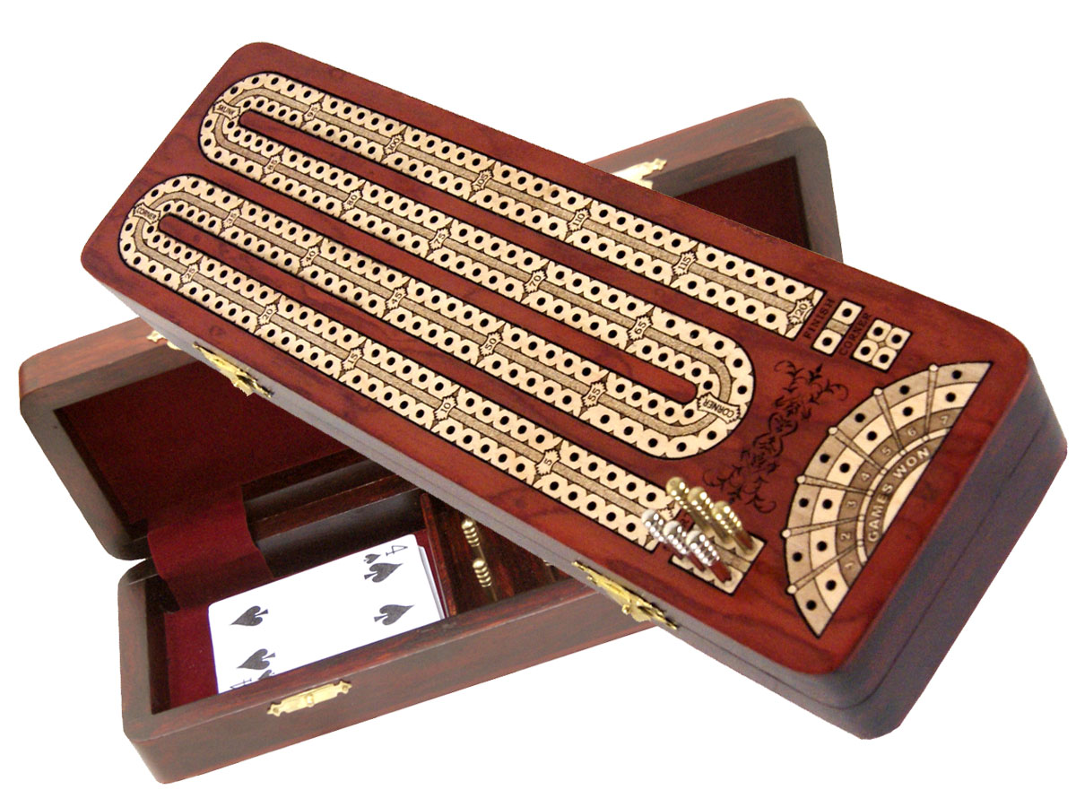Continuous Cribbage Board inlaid with Bloodwood / Maple : 2 Tracks with place to mark won games