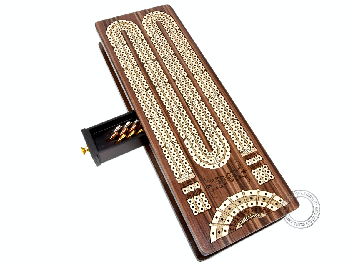 Continuous Cribbage Board / Box inlaid in Rosewood / Maple : 3 Track - Sliding Lid with Score marking fields for Skunks, Corners and Won Games