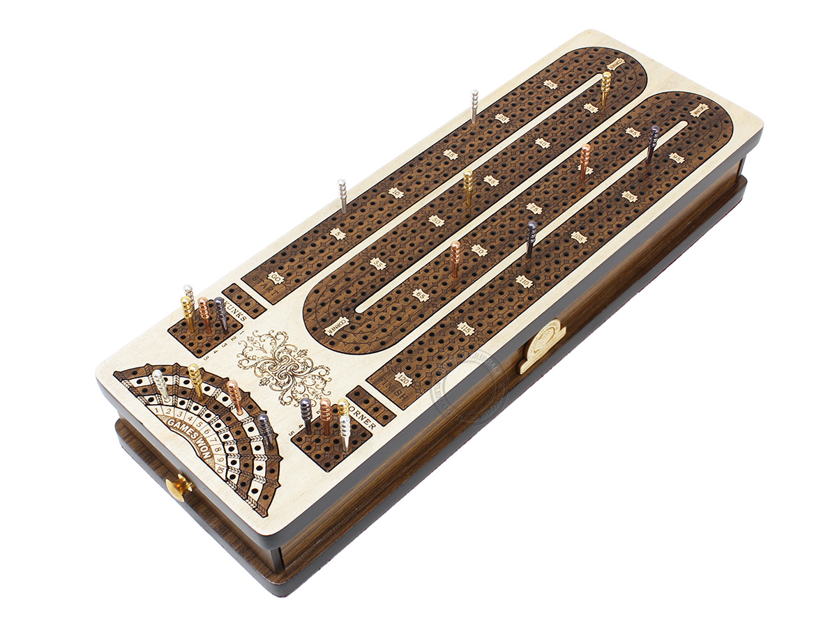 Continuous Cribbage Board Maple / Teak Wood and Side Drawers : 4 Tracks with skunks, corners and place to mark won games