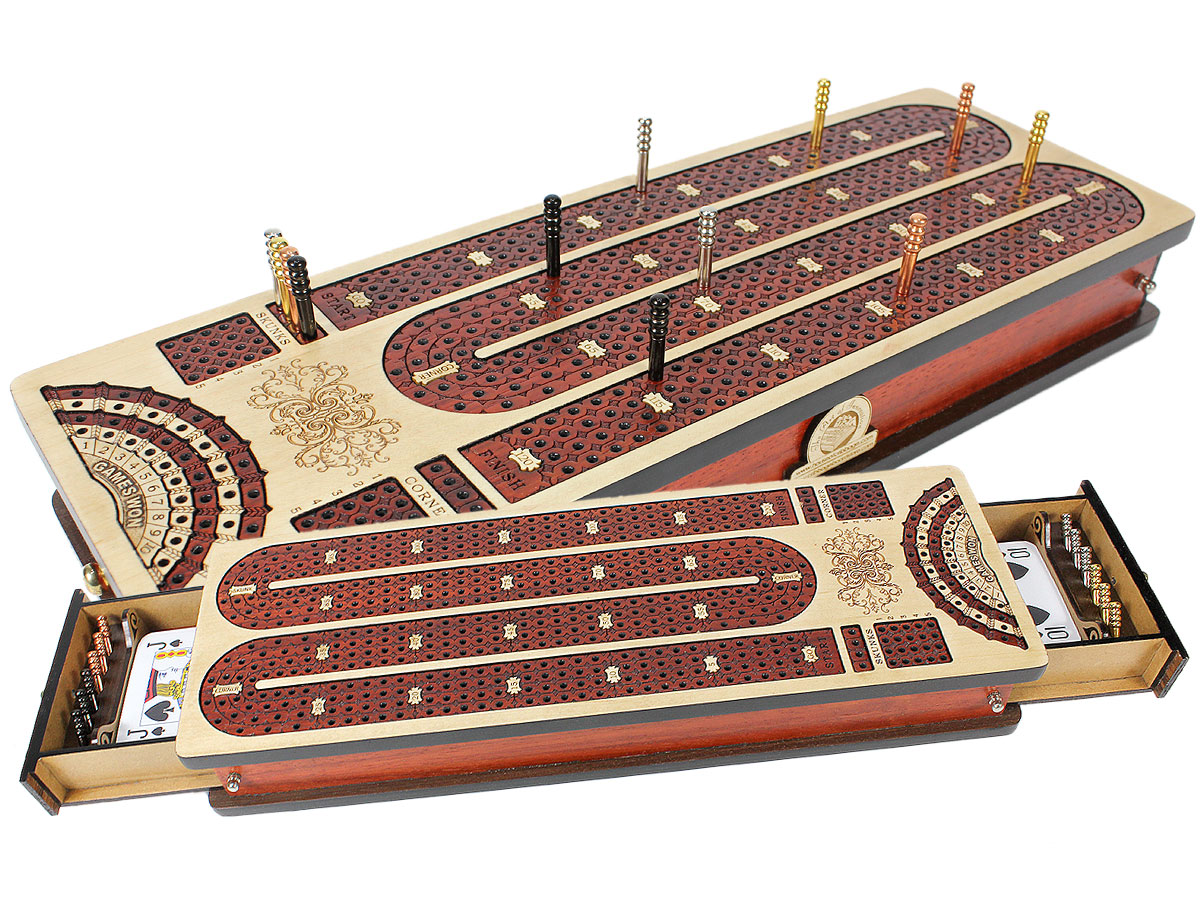 Continuous Cribbage Board Maple / Bloodwood and Side Drawers : 4 Tracks with place to mark won games