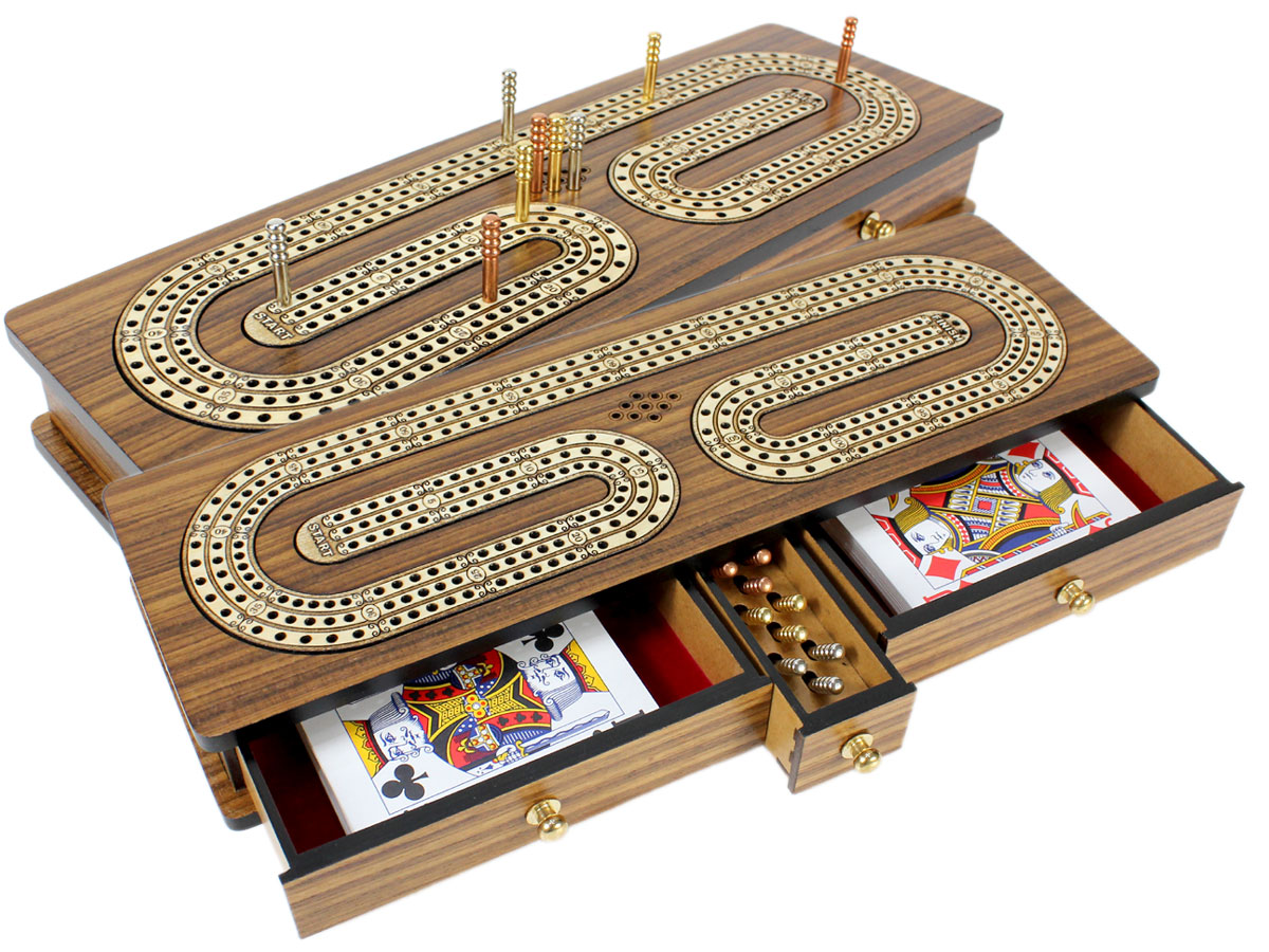 Continuous Cribbage Board TeakWood : Alphabet C Shape Inlaid Maple 3 Tracks with Drawer Storage
