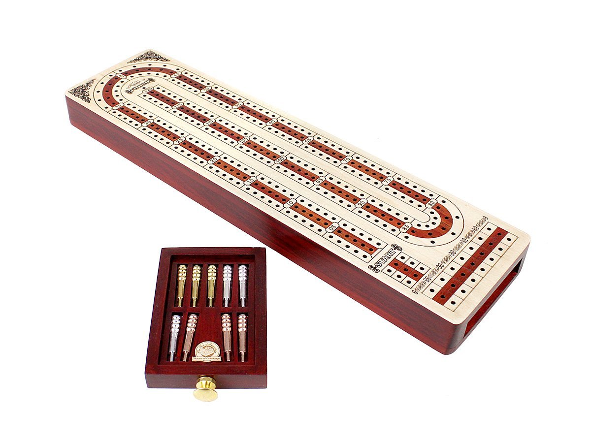 Continuous Cribbage Board Alphabet e Shape inlaid in Maple Wood / Bloodwood : 3 Track - Flat Drawer