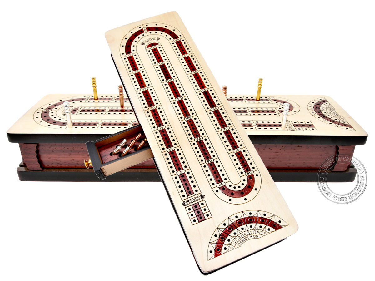 Continuous Cribbage Board Alphabet e Shape inlaid in Maple Wood / Bloodwood : 3 Track - Sliding Lid with Score marking fields for Won Games