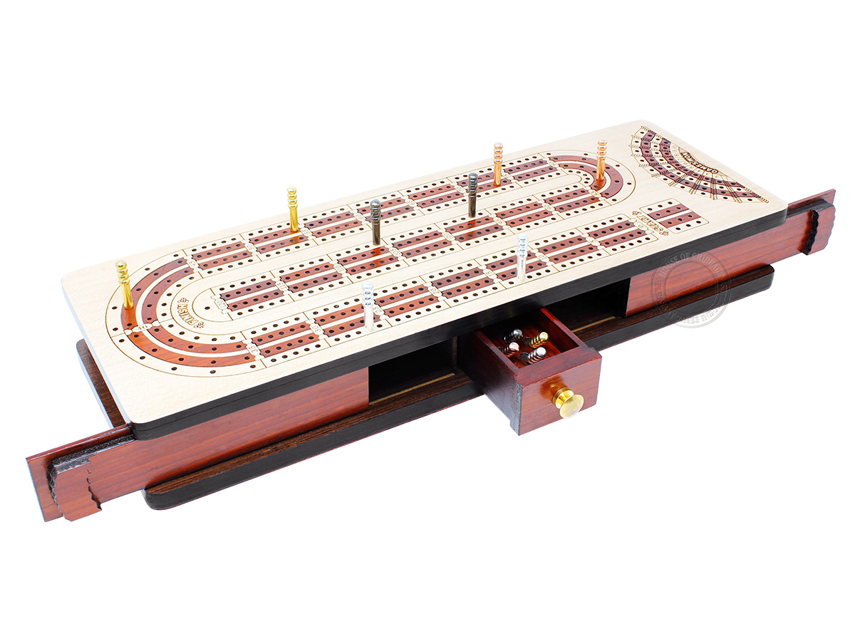 Continuous Cribbage Board Alphabet e Shape inlaid in Maple Wood / Bloodwood - 4 Tracks - Sliding Lid with Score marking fields for Won Games