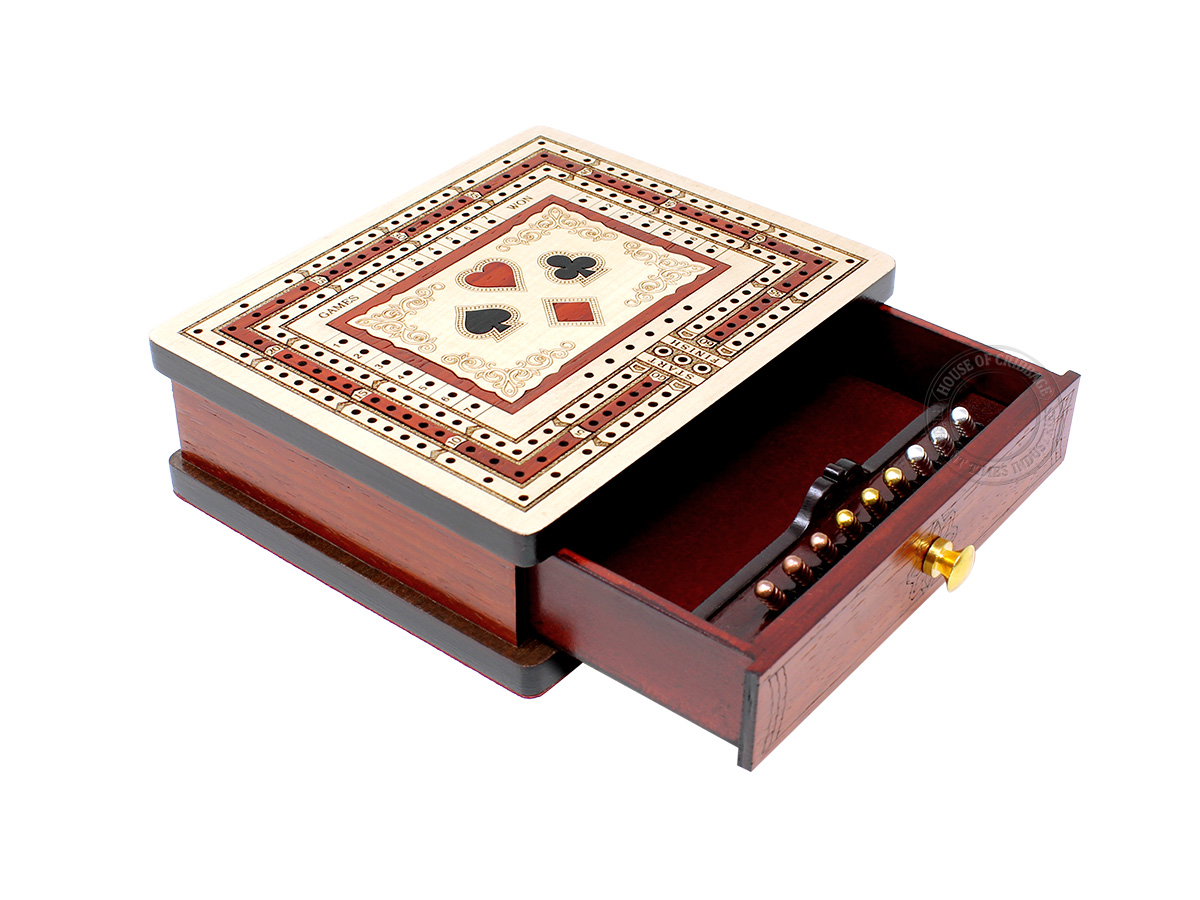 Playing Cards Symbol Inlaid Regular Design 3 Track Rectangular Cribbage Board with Drawer in Maple / Bloodwood