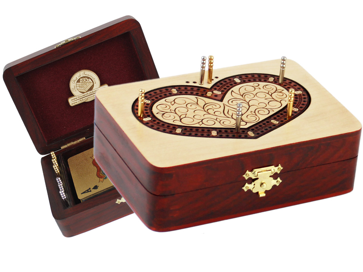 Heart Shape Folding Cribbage Board/Box Inlaid 2 Tracks in Maple/Bloodwood 60 Points