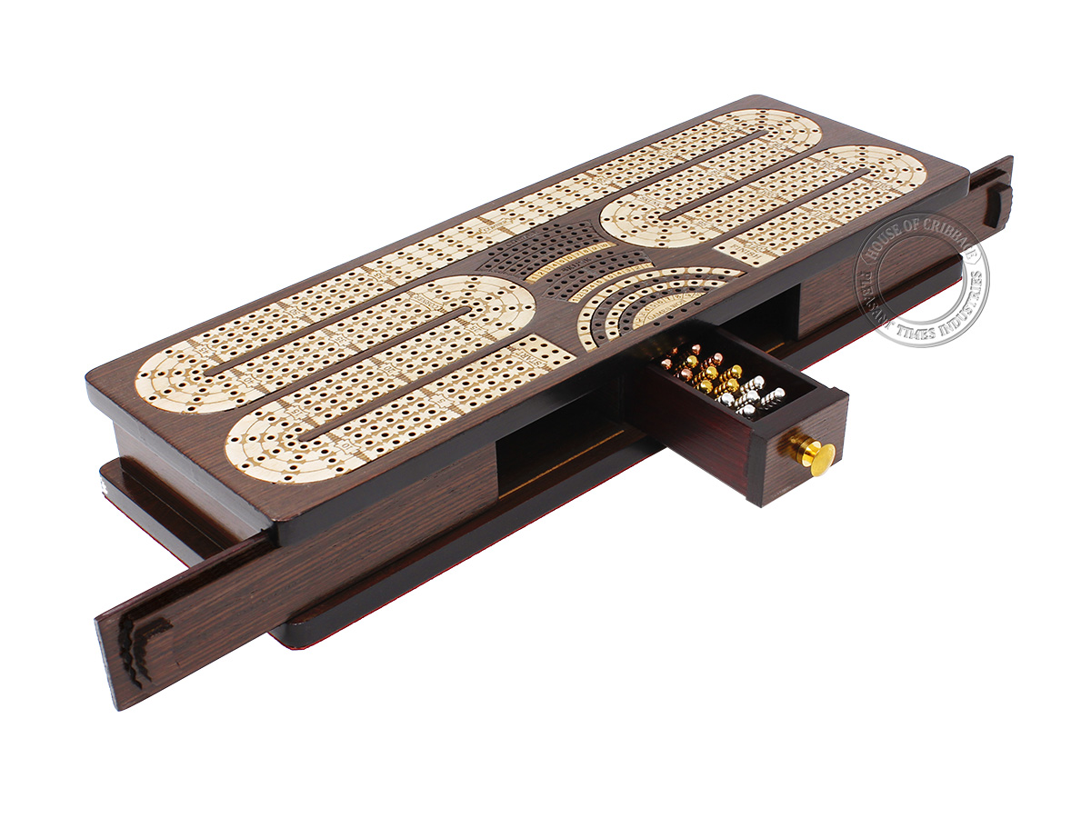 Continuous Cribbage Board Twist Design 4 Tracks - Sliding Lid and Drawer with Skunks, Corners and Score Marking Fields - Wenge Wood / Maple