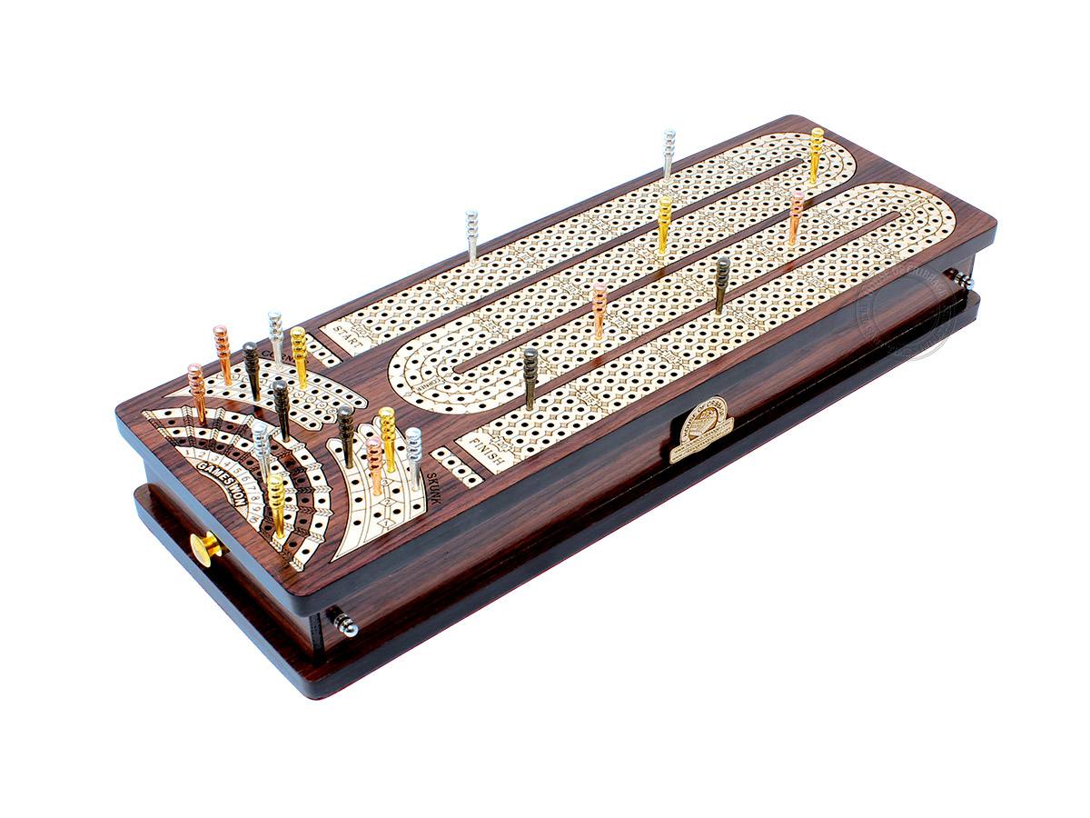 Continuous Cribbage Board Alphabet M Shape 4 Tracks - 2 Side Drawers with Skunks, Corners and Score Marking Fields - Rosewood / White Maple