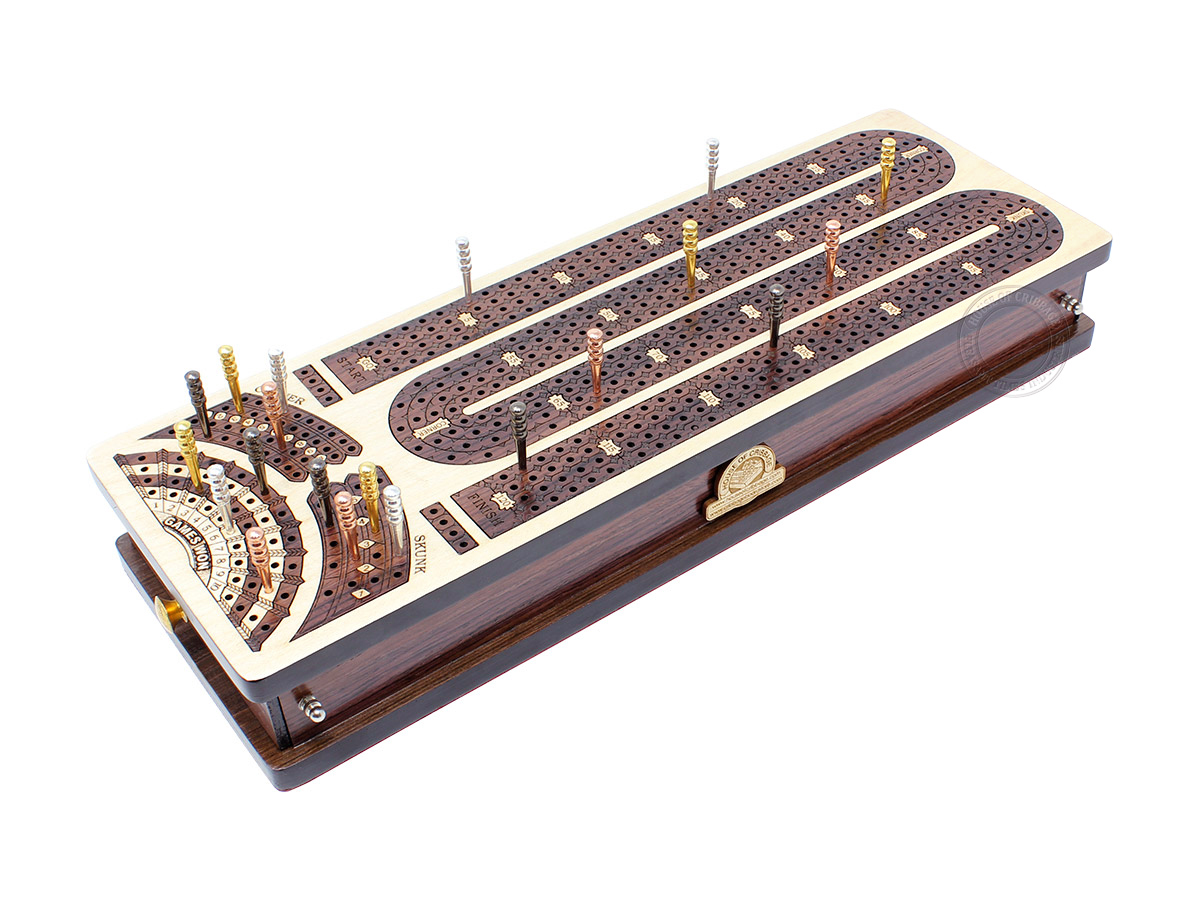 Continuous Cribbage Board Alphabet M Shape 4 Tracks - 2 Side Drawers with Skunks, Corners and Score Marking Fields - White Maple / Rosewood