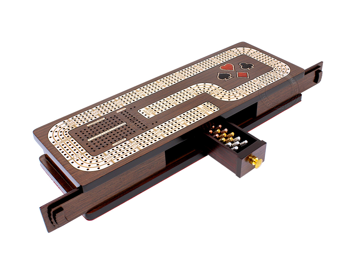 Continuous Cribbage Board Hook Design 4 Tracks - Sliding Lid and Drawer with Skunks, Corners and Score Marking Fields - Wenge Wood / Maple