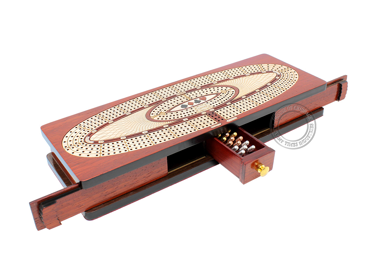 Continuous Cribbage Board Oval Shape 4 Tracks - Sliding Lid and Drawer with Skunks, Corners and Score Marking Fields - Bloodwood / Maple