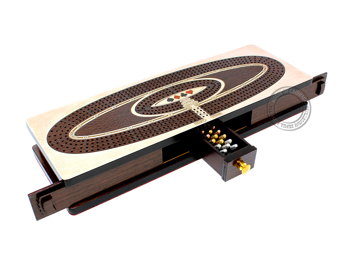 Continuous Cribbage Board Oval Shape 4 Tracks - Sliding Lid and Drawer with Skunks, Corners and Score Marking Fields - Maple / Wenge Wood