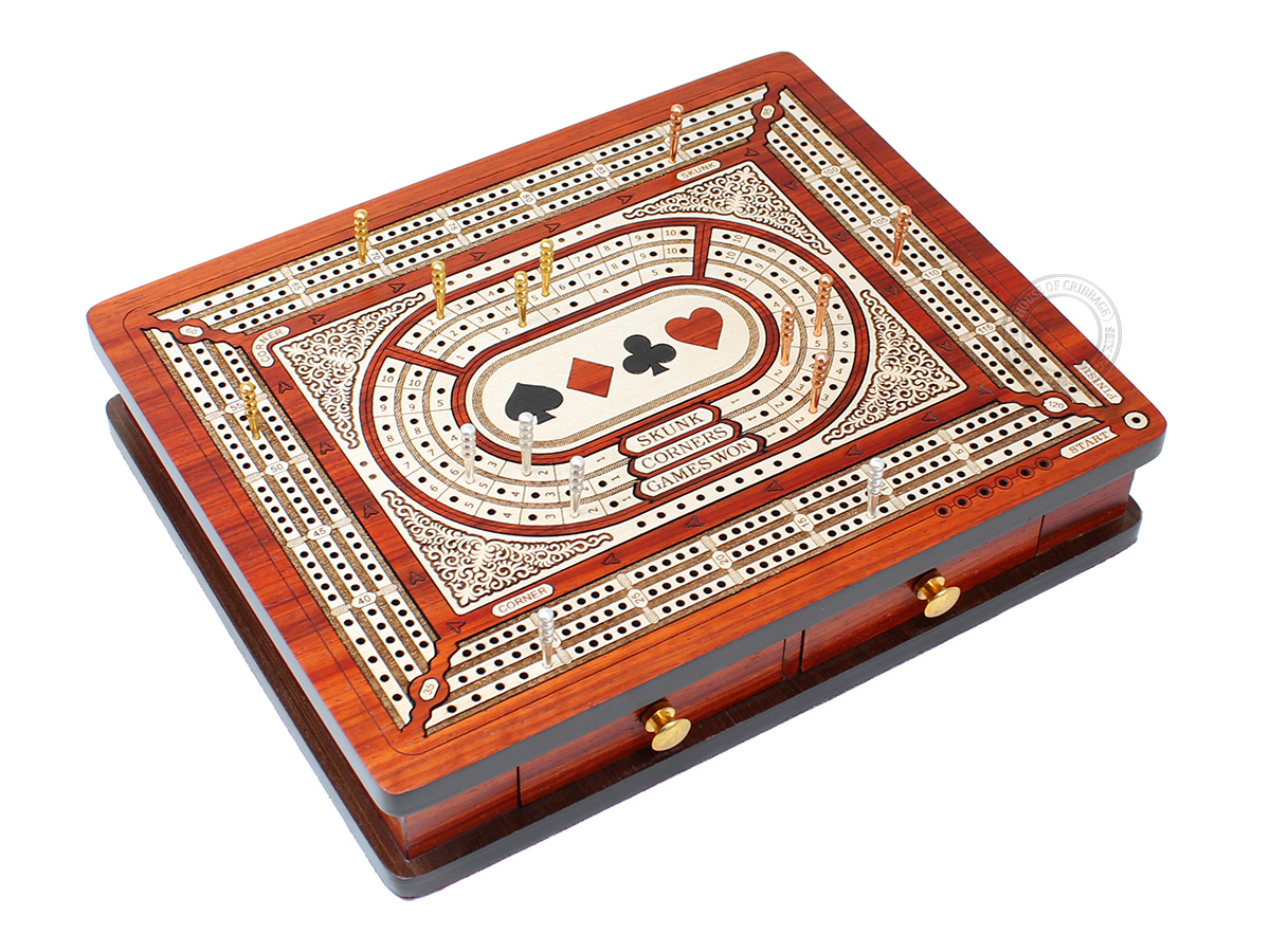 Playing Cards Symbol Inlaid 3 Tracks Continuous Cribbage Board with Drawer Storage and Score Marking Fields for Skunks, Corners & Won Games - Bloodwood / Maple