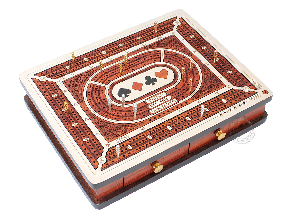 Playing Cards Symbol Inlaid 3 Tracks Continuous Cribbage Board with Drawer Storage and Score Marking Fields for Skunks, Corners & Won Games - Maple / Bloodwood