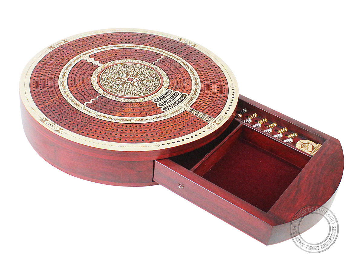 Round Shape 4 Tracks Continuous Cribbage Board Maple / Bloodwood with Push Drawer & place for Skunks, Corners & Won Games