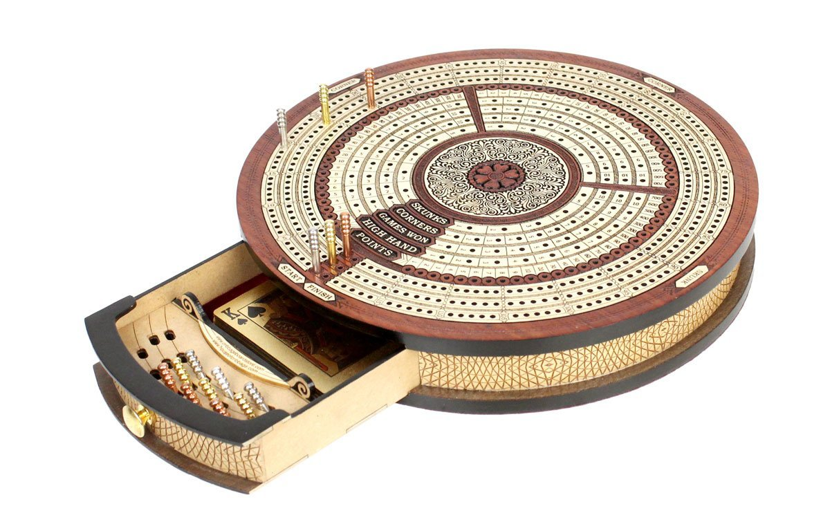 Round Shape 3 Tracks Continuous Cribbage Board and box in Bloodwood / Maple with Score marking fields for Skunks, Corners, Won Games, High Hand and Points - 10.25inch