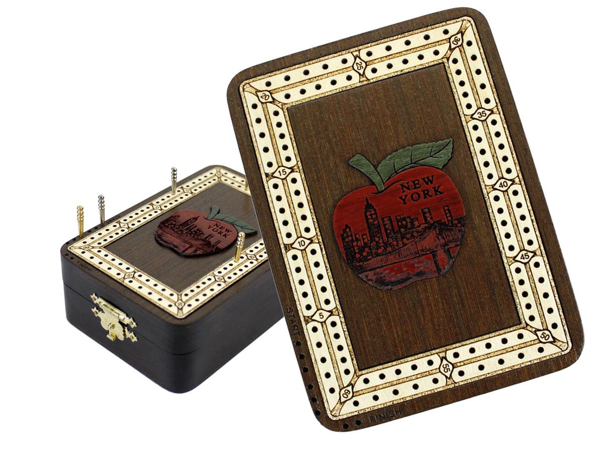 Apple New York Wood Carved Inlaid Folding Cribbage Board / Box Wenge Wood / Maple - 2 Tracks