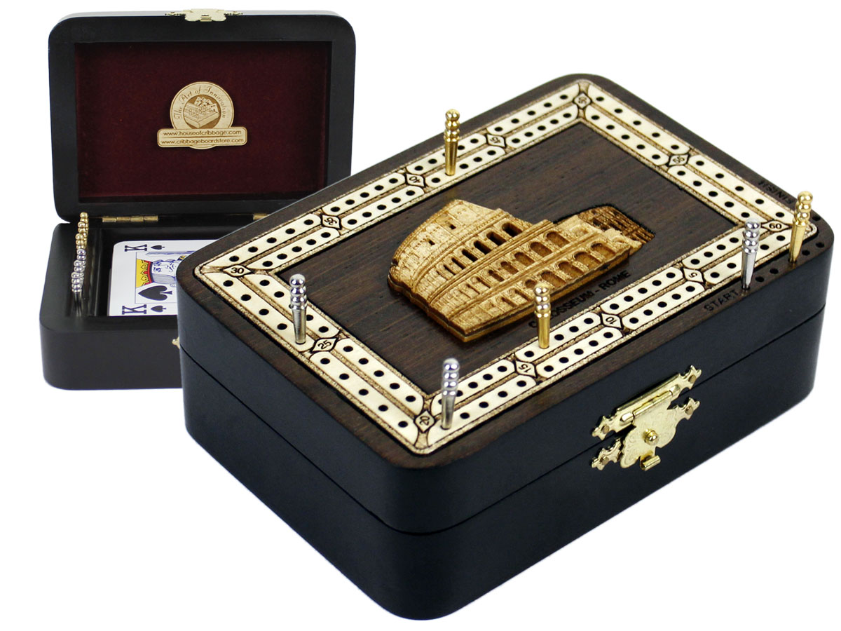 Colosseum Wood Carved Inlaid Folding Cribbage Board / Box Wenge Wood / Maple - 2 Tracks