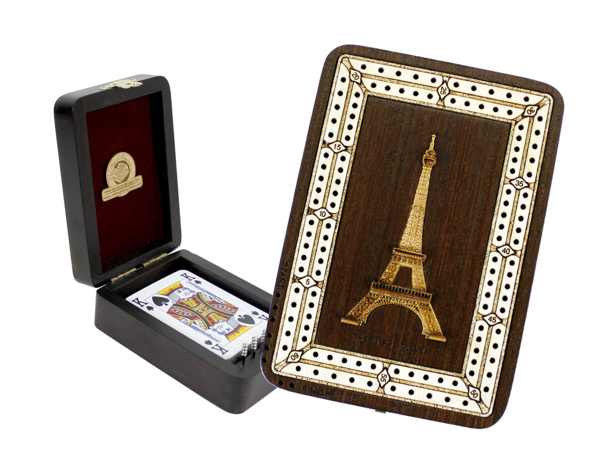 The Eiffel Tower Wood Carved Inlaid Folding Cribbage Board / Box Wenge Wood / Maple - 2 Tracks