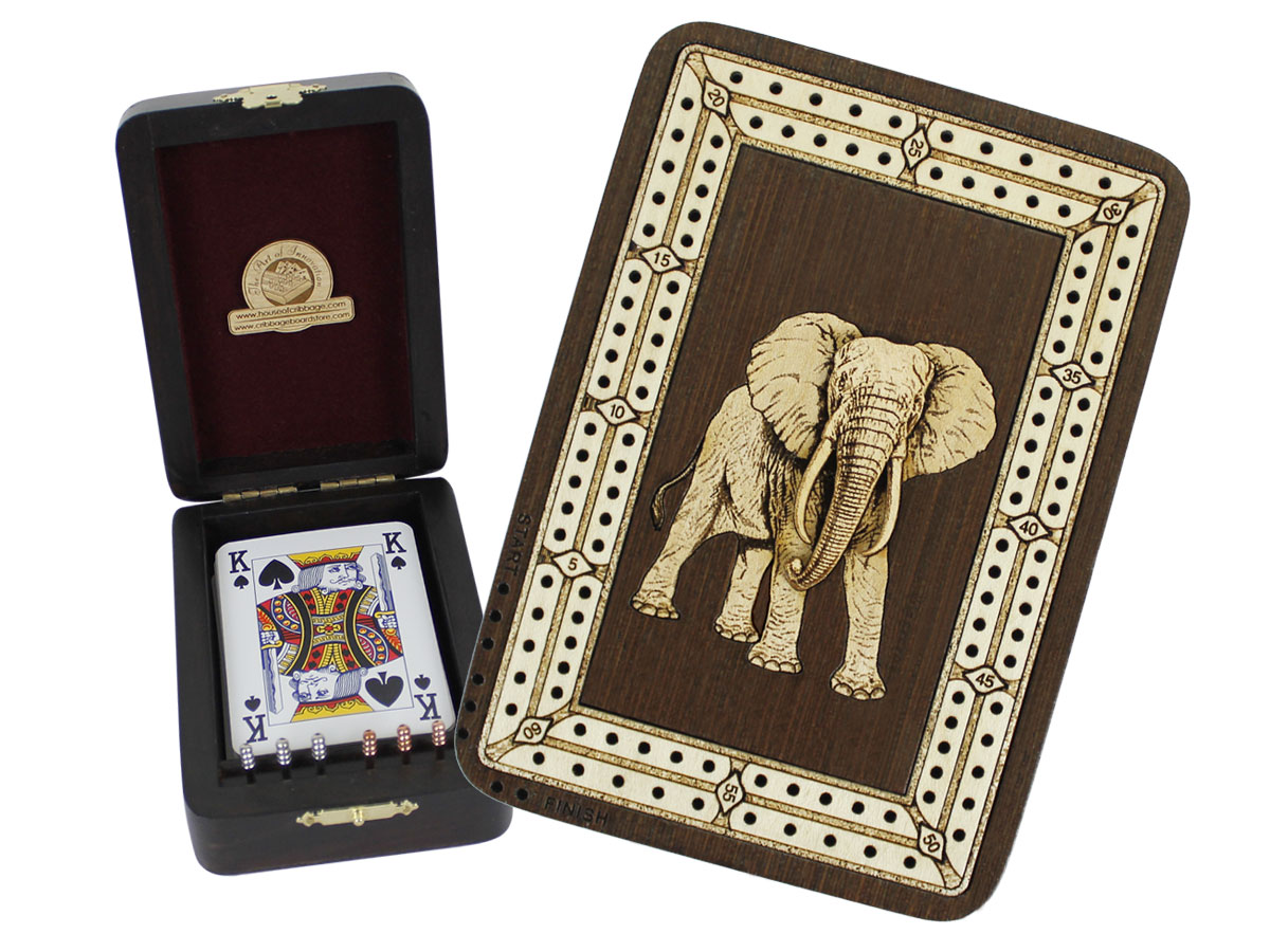 Elephant Wood Carved Inlaid Folding Cribbage Board / Box Wenge Wood / Maple - 2 Tracks