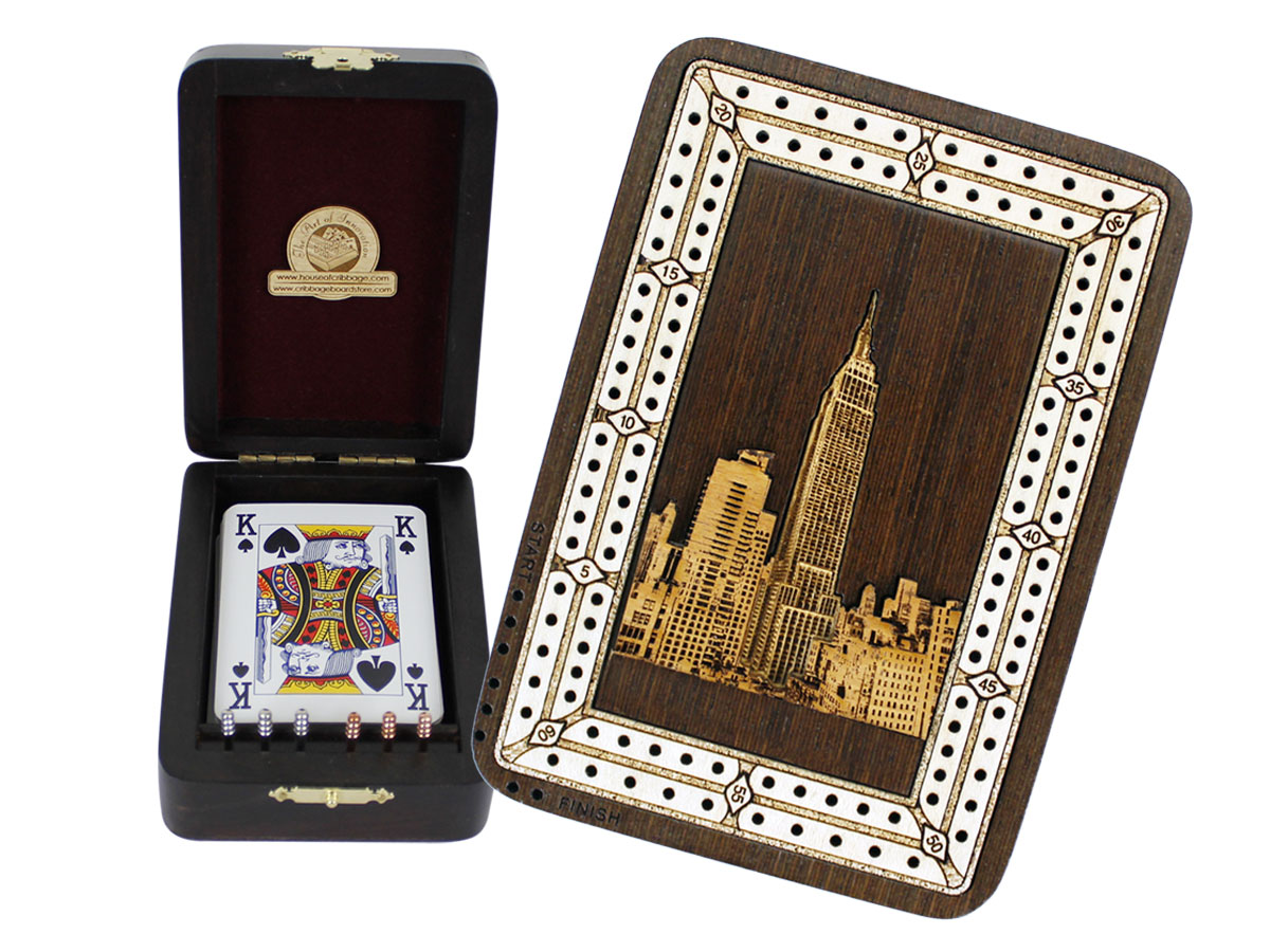 Empire State Building Wood Carved Inlaid Folding Cribbage Board / Box Wenge Wood / Maple - 2 Tracks
