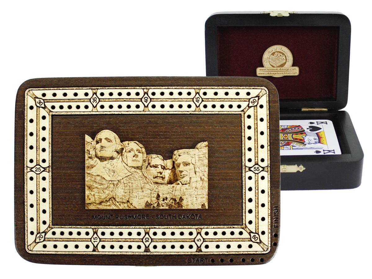Mount Rushmore Wood Carved Inlaid Folding Cribbage Board / Box Wenge Wood / Maple - 2 Tracks