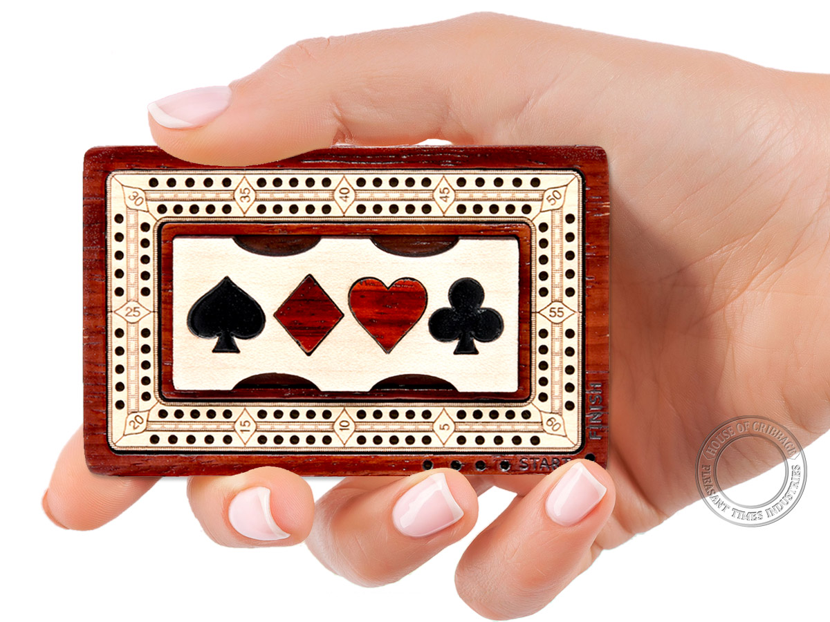 Wooden Travel / Pocket Size Cribbage Board Inlaid in Bloodwood / Maple Wood 2 Tracks 60 Points