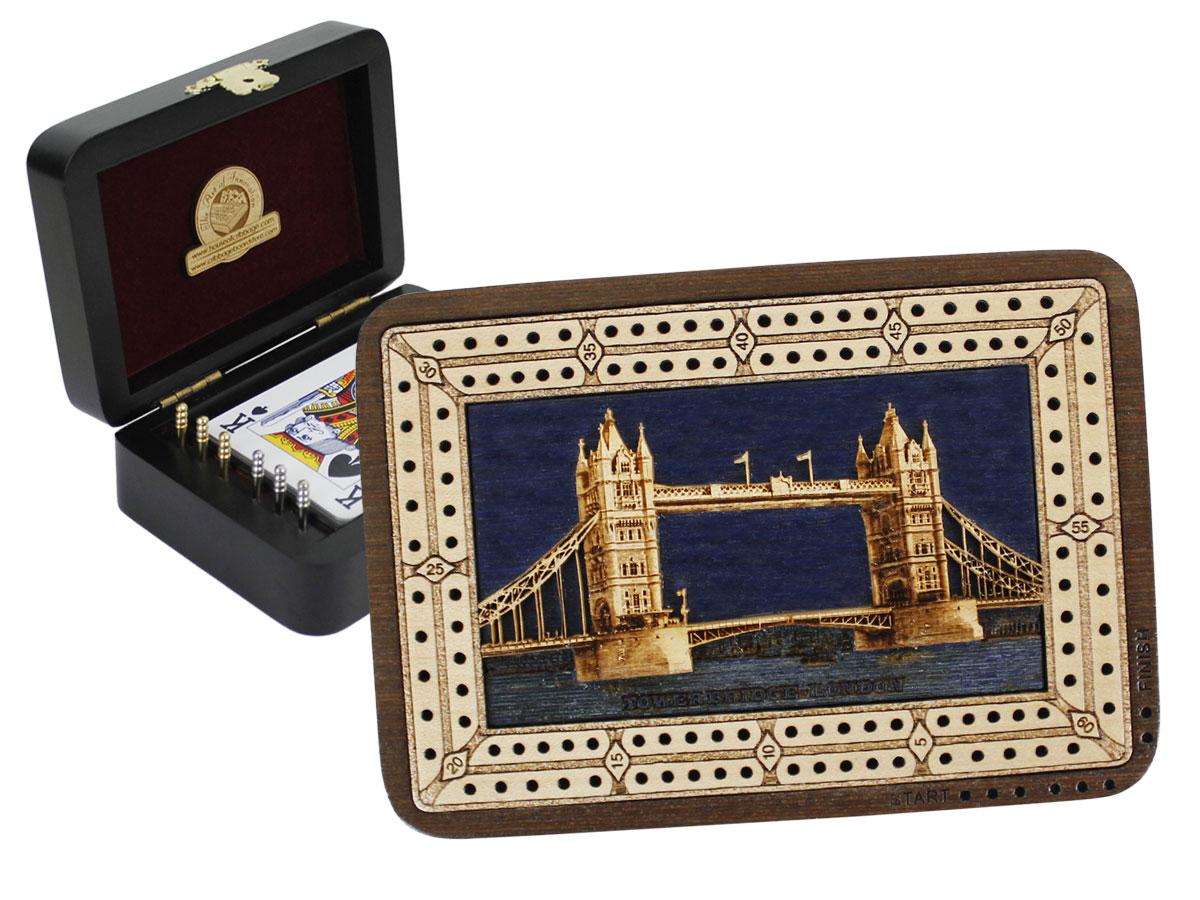 Tower Bridge Front Wood Carved Inlaid Folding Cribbage Board / Box Wenge Wood / Maple - 2 Tracks